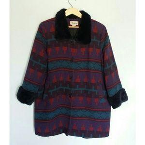 Vintage Fur Collar Tribal Coat